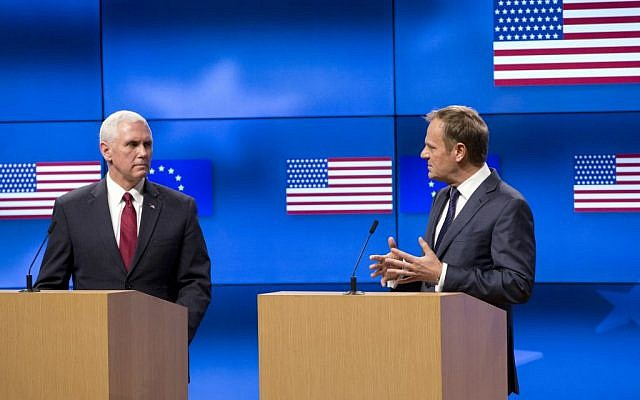 United States Vice President Mike Pence, left, and European Council President Donald Tusk address a media conference at the EU Council building in Brussels on Monday, Feb. 20, 2017. (AP Photo/Virginia Mayo, Pool)