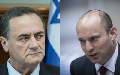 Composite image of Transportation Minister Israel Katz (L) and Education Minister Naftali Bennett. (Hadas Parush/Flash90, Yonatan Sindel/Flash90)