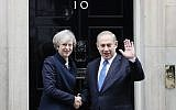 Britain's Prime Minister Theresa May greets Prime Minister Benjamin Netanyahu at 10 Downing Street in London, February 6, 2017. (AP/Kirsty Wigglesworth)