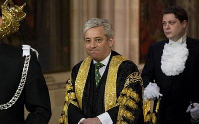 A Wednesday, June 4, 2014 file photo of Britain's Speaker of the House of Commons John Bercow as he walks through Central Lobby before Britain's Queen Elizabeth II delivered the Queen's Speech at the State Opening of Parliament at the Palace of Westminster in London. (AP Photo/Matt Dunham, Pool, File)