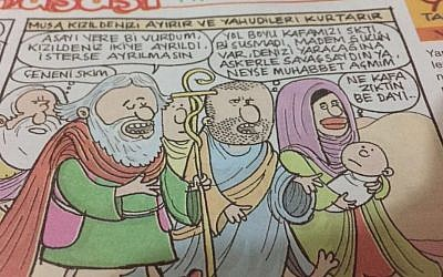 A picture of a page from the magazine Girgir featuring a cartoon showing Moses which was deemed offensive. (Courtesy Tweeter Ibrahim Kalin)