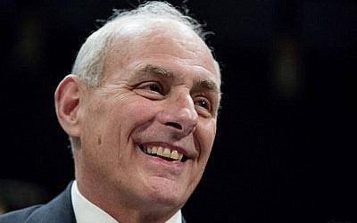 Homeland Security Secretary John Kelly smiles while testifying on Capitol Hill in Washington, Tuesday, Feb. 7, 2017, before the House Homeland Security Committee (AP Photo/Andrew Harnik)