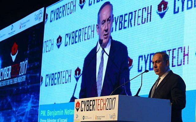 PM Benjamin Netanyhu speaks at CyberTech 2017 (Courtesy: Gilad Kavalerchik)