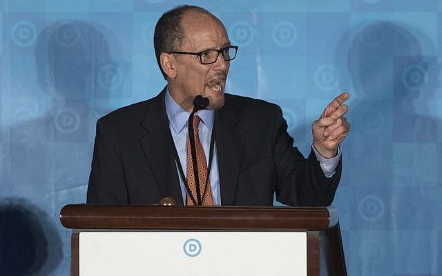 Former Labor Secretary Tom Perez, winning candidate to chair the Democratic National Committee, speaks during the general session of the DNC winter meeting in Atlanta, Saturday, Feb. 25, 2017. (AP Photo/Branden Camp)