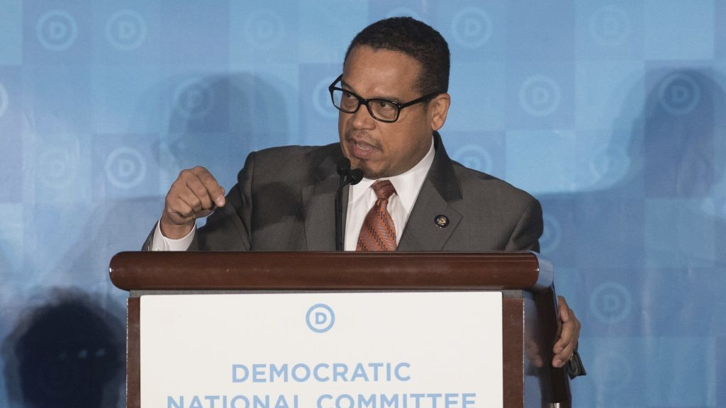Rep. Keith Ellison, D-Minn, unsuccessful candidate to run the Democratic National Committee, speaks during the general session of the DNC winter meeting in Atlanta, Saturday, Feb. 25, 2017. (AP Photo/Branden Camp)