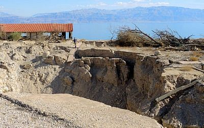 A lone visitor ventures into the ruins of the Kibbutz Ein Gedi beach on January 3, 2017. Sinkholes forced the closure of the beach in 2015. (Melanie Lidman/Times of Israel)