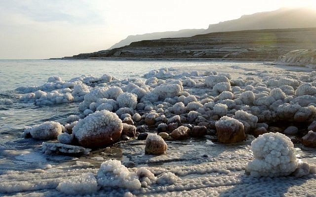 Salt-covered rocks on the shores of the northern basin of the Dead Sea on January 11, 2017. (Melanie Lidman/Times of Israel)