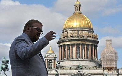 Russian MP Vitaly Milonov, then a lawmaker in the local parliament, speaking during an interview with AFP, Saint Petersburg, Russia, September 26, 2013. (AFP Photo/Olga Maltseva/File)