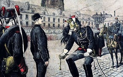 'The Traitor: The Degradation of Alfred Dreyfuss,' by Henri Meyer, portraying the stripping of the soldier's rank. (Wikimedia commons/public domain)