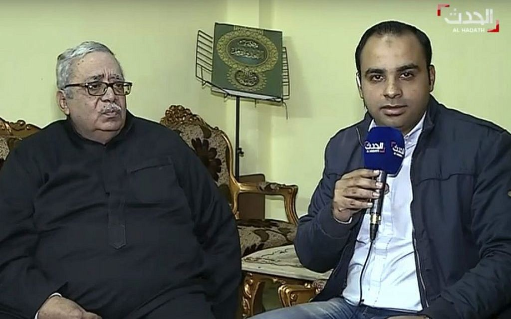 In this still image made from video provided by the Dubai-based news channel al-Hadath, the father of the alleged Louvre attacker, Egyptian-born Abdullah Reda Refaie al-Hamahmy, 28, Reda Refae al-Hamahmy, left, gives an interview to al-Hadath, in his Nile Delta home, aired Saturday, Feb. 4, 2017, in which he said he was shocked to learn of his son's alleged involvement. (AP)