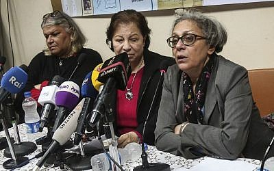 In this February 21, 2016 file photo, Aida Seif el-Dawla, Suzan Fayyad, center, and Magda Adly, right, co-founder of El Nadeem Center for Rehabilitation of Victims of Violence, hold a press conference in Cairo. (AP Photo/Mohamed el Raai, File)