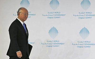Director General of the International Atomic Energy Agency Yukiya Amano arrives for a panel discussion during the last day of the World Government Summit, in Dubai, United Arab Emirates, February 14, 2017. (AP/Kamran Jebreili)