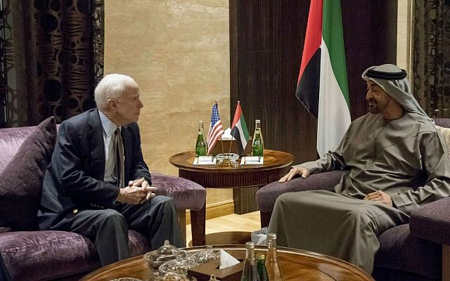 In this Wednesday Feb. 22, 2017 photo released by the Emirates News Agency, WAM, Sheikh Mohamed bin Zayed Al Nahyan, Crown Prince of Abu Dhabi and Deputy Supreme Commander of the UAE Armed Forces, right, meets with Sen. John McCain, chair of the Senate Armed Services Committee, at Al Shati Palace, Abu Dhabi, United Arab Emirates. (Rashed Al Mansoori/Crown Prince Court via AP)