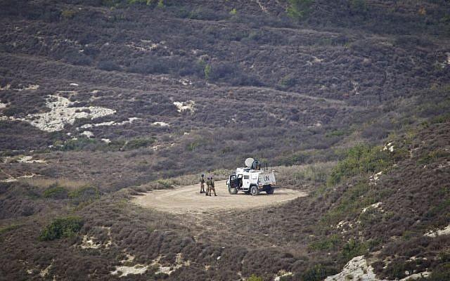 A UN patrol near the Israeli-Lebanese border, November, 2016. (Doron Horowitz/FLASH90)