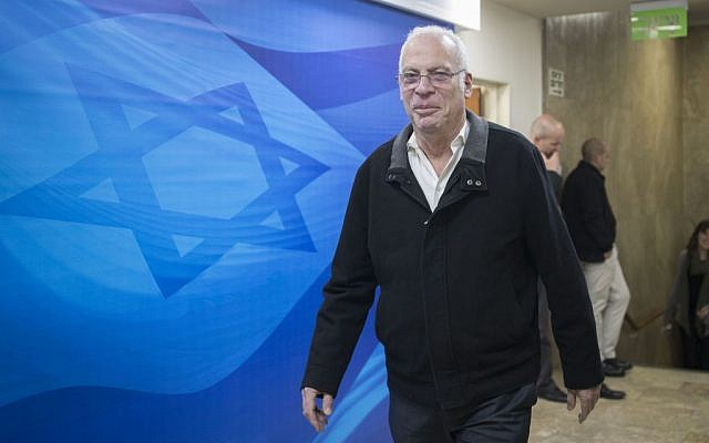 Agriculture Minister Uri Ariel arrives for the weekly government meeting at the Prime Minister's Office in Jerusalem, December 25, 2016. (Yonatan Sindel/Flash90)