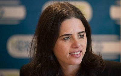 Justice Minister Ayelet Shaked attends a meeting of her Jewish Home faction, January 2, 2017. (Yonatan Sindel/Flash90)