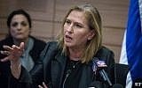 Zionist Union MK Tzipi Livni at a faction meeting in the Knesset on January 16, 2017. (Hadas Parush/Flash90)