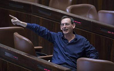 Joint (Arab) List party MK Dov Khenin reacts during a question period in the Knesset, January 25, 2019. (Yonatan Sindel/Flash90)