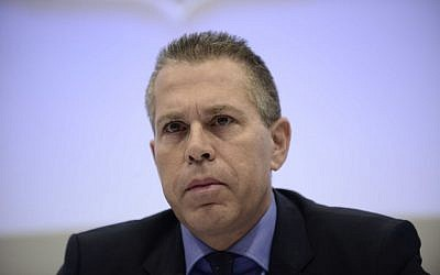 Public Security Minister Gilad Erdan attends a press conference in Tel Aviv, January 26, 2017. (Tomer Neuberg/Flash90)