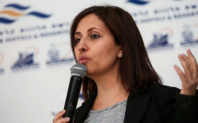 Likud Knesset member and Senior Citizens Minister Gila Gamliel speaks at a gathering of Likud party members and supporters in the southern Israeli city of Eilat, January 27, 2017. (Noam Revkin Fenton/Flash90)
