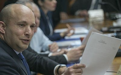 Education Minister Naftali Bennett attends the weekly cabinet meeting at the Prime Minister's Office in Jerusalem on January 29, 2017. (Ohad Zwigenberg/POOL)