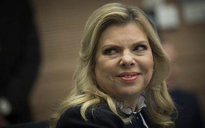 Sara Netanyahu, wife of Prime Minister Benjamin Netanyahu, attends a meeting of the lobby for encouraging Bible study, at the Knesset, January 31, 2017. (Yonatan Sindel/Flash90)