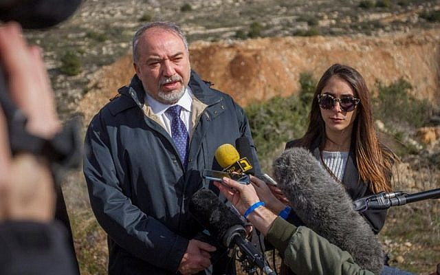 Defense Minister Avigdor Liberman speaks to the press during a visit to the West Bank settlement of Ariel on February 1, 2017. (Flash90)