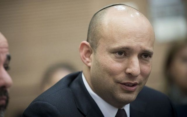 Jewish Home party leader Naftali Bennett attends an Education, Culture and Sports Committee meeting at the Knesset on February 1, 2017. (Yonatan Sindel/Flash90)