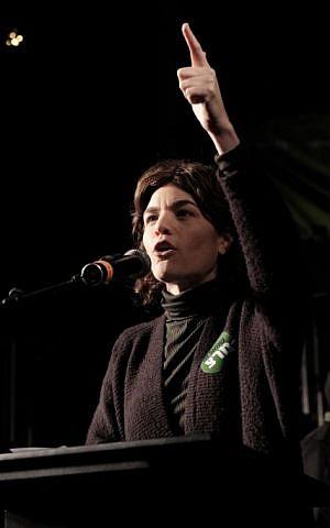 Meretz MK Tamar Zandberg speaks at a demonstration in favor of legalizing marijuana, held in Rabin square, Tel Aviv, February 4, 2017. (Tomer Neuberg/FLASH90)