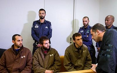 Three men suspected of involvement in a Hamas terror cell appearing in Haifa court on February 6, 2017. (Flash90)