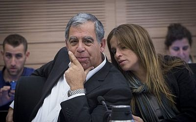 Yesh Atid MK Mickey Levy and Kulanu lawmaker Merav Ben Ari in the Knesset on February 6, 2017. (Miriam Alster/Flash90)