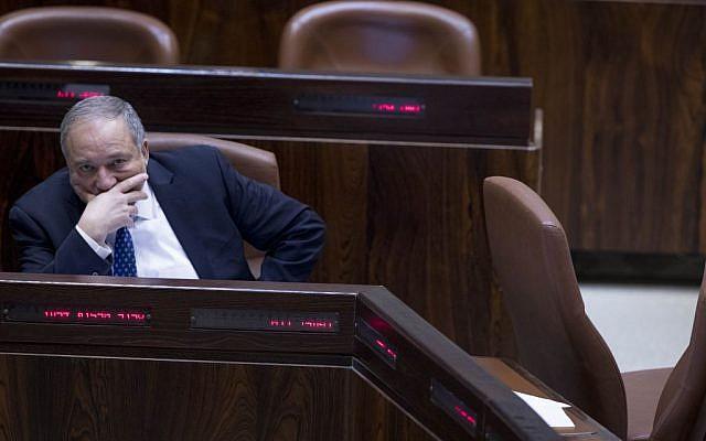 Defense Minister Avigdor Liberman seen in the Knesset, in Jerusalem, February 6, 2017. (Yonatan Sindel/Flash90)