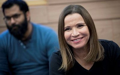 Zionist Union MK Shelly Yachimovich attends a faction meeting in the Knesset on February 6, 2016. (Yonatan Sindel/Flash90)