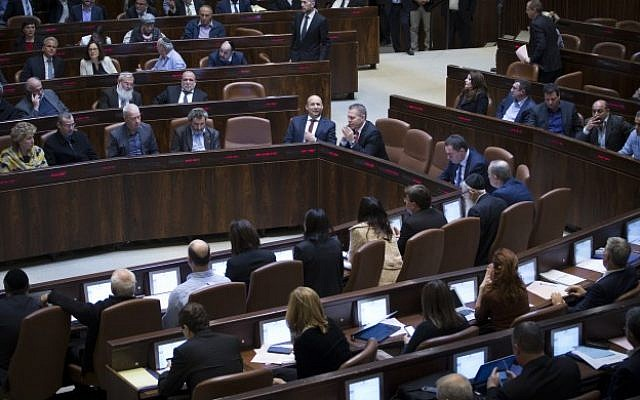 View of the plenum hall in the Knesset on February 06, 2017 where MKs were set to vote on the second and third reading of the so-called Regulation Bill. (Yonatan Sindel/Flash90)