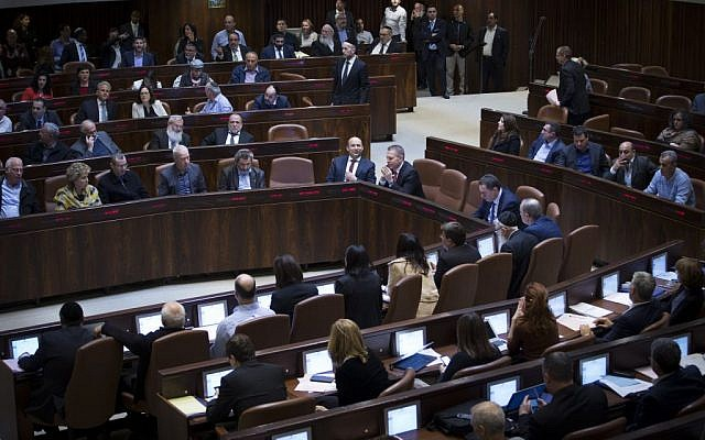 View of the plenum hall in the Knesset on February 06, 2017. (Yonatan Sindel/Flash90)