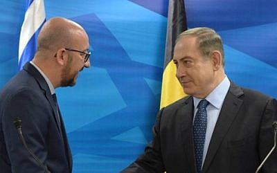 Prime Minister Benjamin Netanyahu holds a joint press conference with his Belgian counterpart  Charles Michel, at the Prime Minister's Office in Jerusalem, on February 6, 2017. (Amos Ben Gershom/GPO)