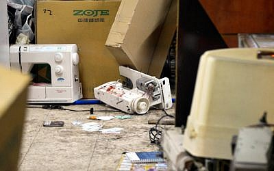 A sewing machine reportedly used to take down a suspected terrorist who hurt at least five people in a shooting and stabbing attack in the central Israeli city of Petah Tikva on February 9, 2017. (Flash90)