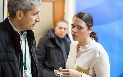 Justice Minister Ayelet Shaked, right, arrives at the weekly cabinet meeting in Jerusalem on February 12, 2017. (Emil Salman/POOL)