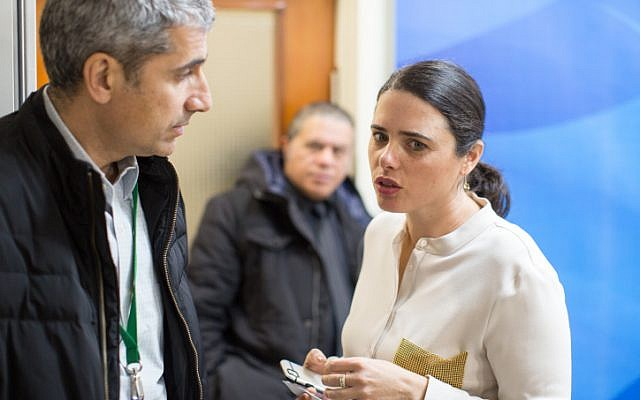 Justice Minister Ayelet Shaked arrives at the weekly cabinet meeting at his office in Jerusalem, on February 12, 2017. (Emil Salman/POOL)