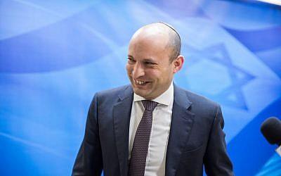 Education Minister Naftali Bennett arrives at the weekly cabinet meeting in Jerusalem on February 12, 2017. (Emil Salman/POOL)