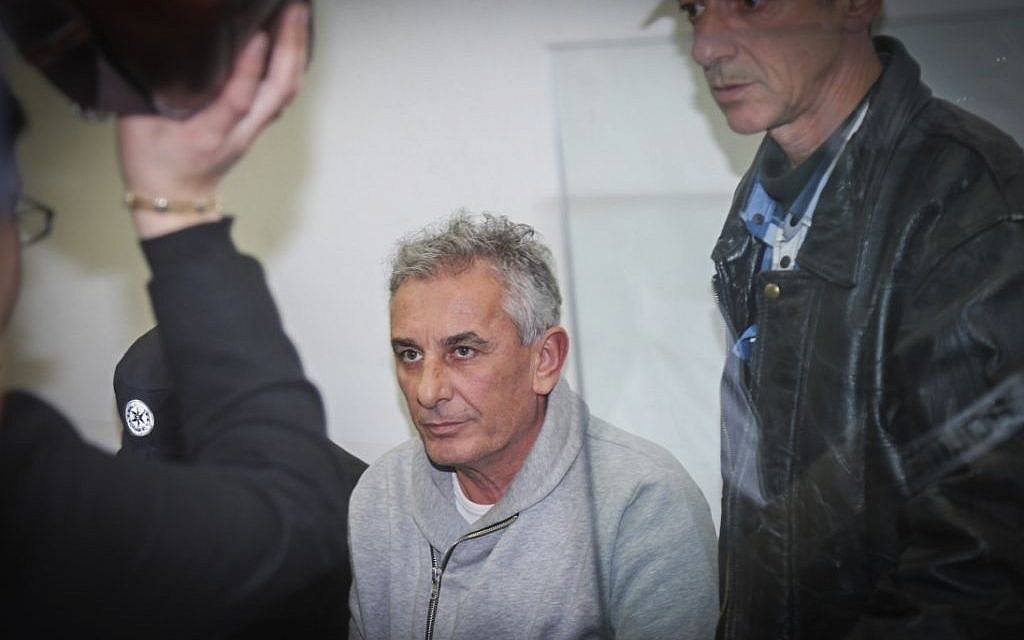Kfar Saba Mayor Yehuda Ben-Hamo appears at a remand hearing at Rishon Lezion Magistrate's Court on February 13, 2017, after he was arrested for suspected corruption. (Photo by Flash90)
