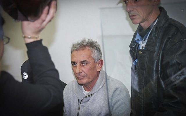 Kfar Saba Mayor Yehuda Ben-Hamo appears at a remand hearing at Rishon Lezion Magistrate's Court on February 13, 2017, after he was arrested for suspected corruption. (Flash90)
