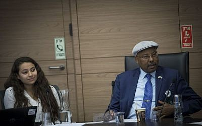MK Avraham Neguise leads a meeting of the Immigration, Absorption and Diaspora Affairs Committee, as part of the 'Young Knesset' events in parliament, February 14, 2017. (Photo by Yonatan Sindel/Flash90)