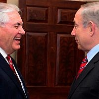 Prime Minister Benjamin Netanyahu meets with US Secretary of State Rex W. Tillerson in Washington, D.C., February 15, 2017. (Avi Ohayon/GPO)