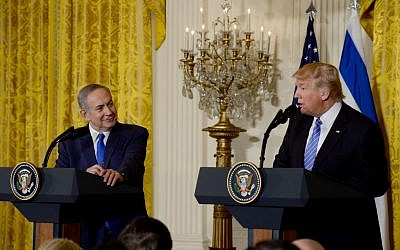 Prime Minister Benjamin Netanyahu and US President Donald Trump seen during a joint press conference at the White House in Washington, D.C. wher they discussed curbing the Iran nuclear threat on February 15, 2017. (Avi Ohayon/Flash90)