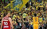 Illustrative: Maccabi Tel Aviv Basketball team against Hapoel Jerusalem in the National Cup final game in Jerusalem, on February 17, 2017. (Flash90)