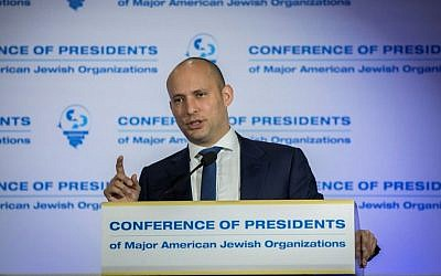 Education Minister Naftali Bennett attends a meeting of the Conference of Presidents of Major American Jewish Organizations, at the Inbal Hotel in Jerusalem, on February 20, 2017. (Yonatan Sindel/Flash90)