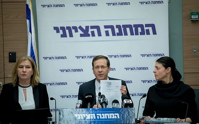 Zionist Camp chair Isaac Herzog at a faction meeting in the Knesset, February 20, 2017. (Yonatan Sindel/Flash90)