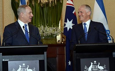Prime Minister Benjamin Netanyahu and Australian Prime Minister Malcolm Turnbull during a joint press conference in Sydney, Australia, on February 22, 2017.  (Haim Zach/GPO)