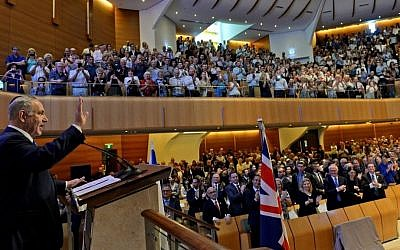 Prime Minister Benjamin Netanyahu speaks during a visit at the Great Synagogue in Sydney, Australia, on February 22, 2017. (Haim Zach/GPO via Flash90)